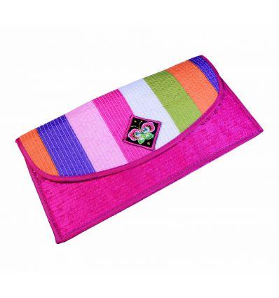 Portefeuille tissu rose fuchsia avec banderolles de couleur