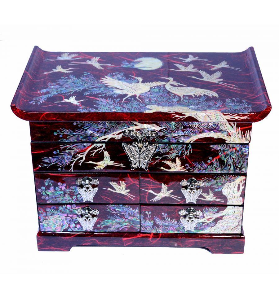 boite bijoux rouge design h rons de nacre. Black Bedroom Furniture Sets. Home Design Ideas