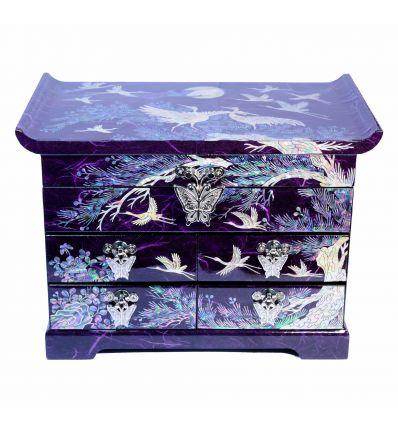Grande boite à bijoux violette avec de belles illustrations asiatiques en nacre naturelles