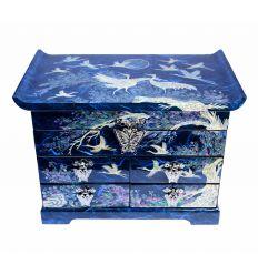 Grande boite à bijoux bleu avec de belles illustrations asiatiques en nacre naturelles