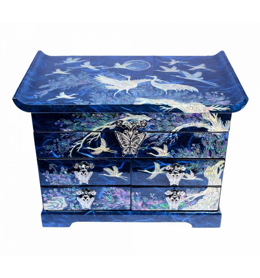 boite bijoux bleu aux decors asiatique de nacre. Black Bedroom Furniture Sets. Home Design Ideas