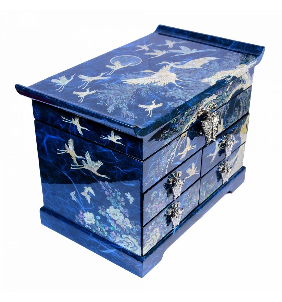 boite bijoux bleu aux decors asiatique de nacre. Black Bedroom Furniture Sets. Home Design Ideas