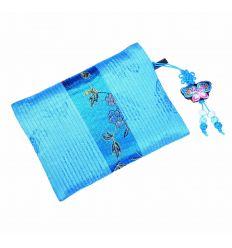 Porte-monnaie bleu ciel en tissu brocart