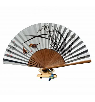 Éventail papier et bambou avec dessins de fleurs lys et couple d'oiseau