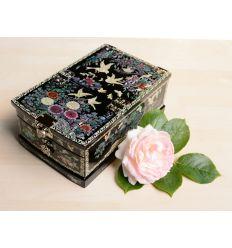 Boite à bijoux design chrysanthèmes et oiseaux
