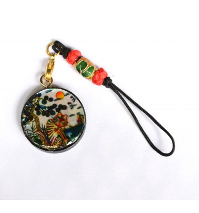 Pendentif rond décoratif en nacre design tigre coloré