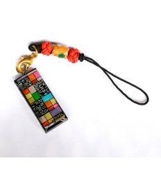 Pendentif rond décoratif en nacre design pojagi et alphabet coréen colorés