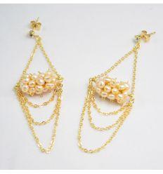 Boucle d'oreilles Perles Rose