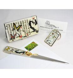 """Set porte-cartes de visite, ouvre-lettres et porte-clefs désign prunier et papillons '""""Maewanabi"""""""