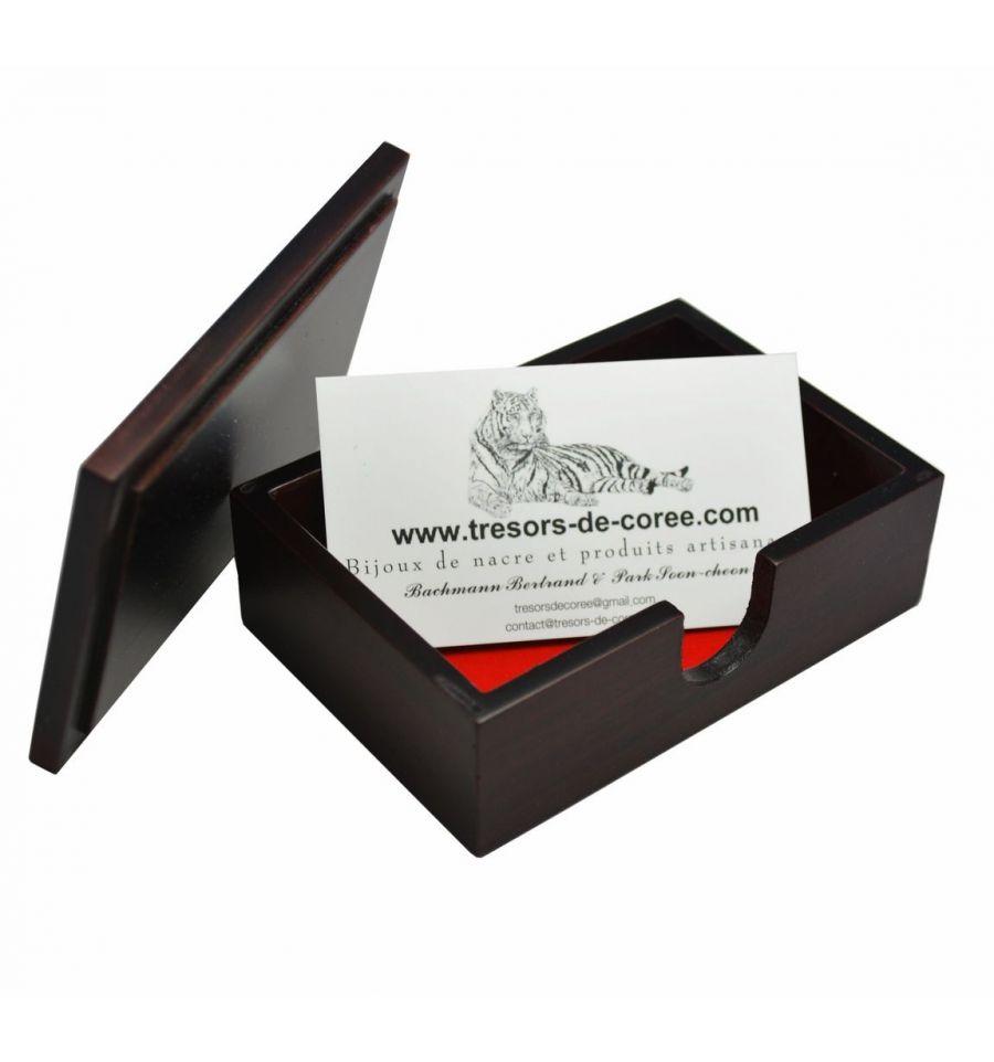 boitier bois et nacre pour rangement cartes de visite. Black Bedroom Furniture Sets. Home Design Ideas