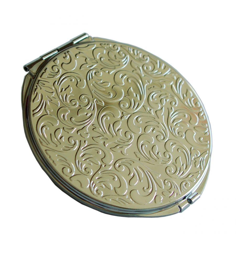 Miroir de poche fantaisie blanc et noir aux d corations de for Miroir fantaisie design