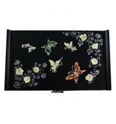 Boite à bijoux noire mat décoré de nacre abalone