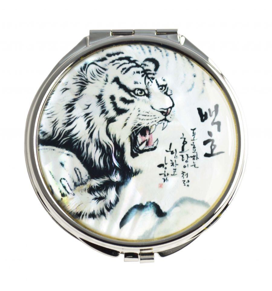 Miroir de poche fantaisie d cor d 39 un tigre blanc for Miroir fantaisie design