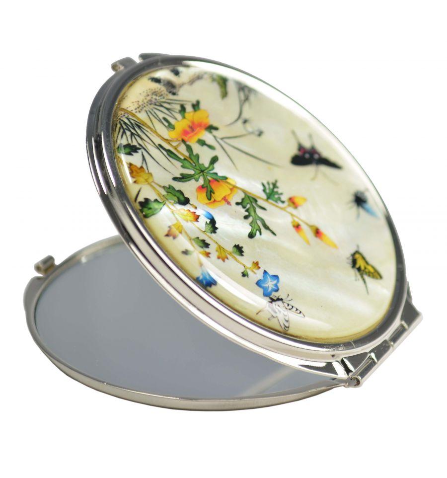Miroir de poche fantaisie blanc avec une image de nacre for Miroir fantaisie design
