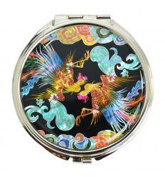 Miroir de sac original avec une illustration fantaise de phoenix en nacre