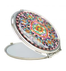 Miroir de poche rond avec décorations originales en nacre