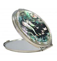 Miroir de poche design hérons en nacre naturelle
