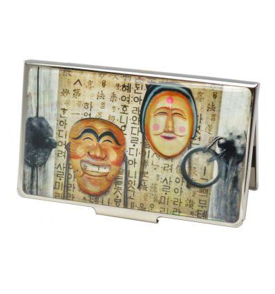 Le porte-cartes de visite est décoré avec un beau dessin original de masques Coréens