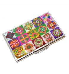 Porte-cartes de vite original avec mosaïque colorée en nacre