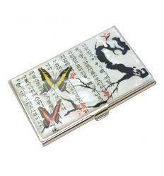 Porte-cartes de visite avec dessin de papillons et fleurs de pruniers rouge