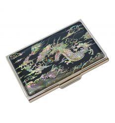Porte-cartes de visite dragon argenté en nacre naturelle