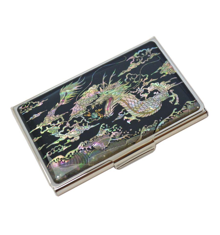 Porte Cartes De Visite Dragon Argent En Nacre Naturelle