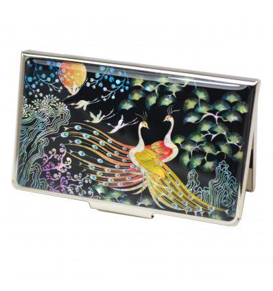 Porte-cartes de visite femmes qui est décoré avec un couple de paons en nacre