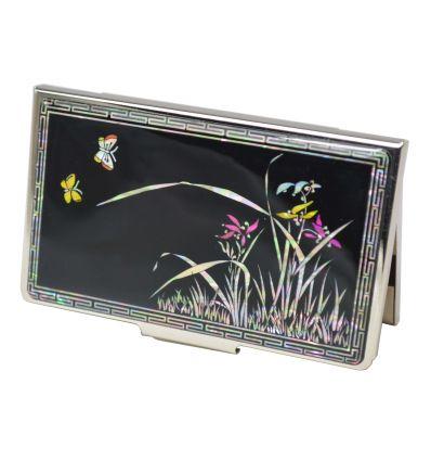 Élégant porte-cartes de visite en nacre design fleurs de lys et papillons