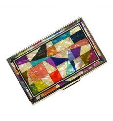 Porte-carte design en nacre et patchwork coloré