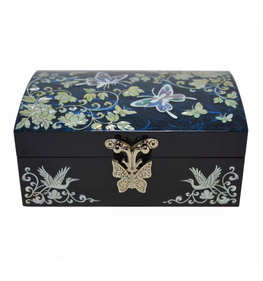 petite coffret bijoux bleu artisanat cor en de nacre. Black Bedroom Furniture Sets. Home Design Ideas