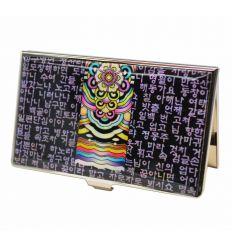 Porte-cartes de visite original avec une fresque colorée et les charactères de l'alphabet Coréen