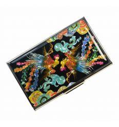 Porte-cartes de visite décoré d'un couple de phoenix en nacre coloré