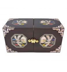 Boite à bijoux en bois avec décorations de nacre naturelle design hérons