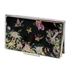 Porte-cartes de visite femme avec décoration de fleurs de pivoines et des papillons