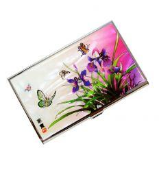 Porte-cartes de visite design lys violet en nacre naturelle