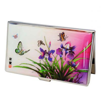 Porte Cartes De Visite Design Lys Violet En Nacre Naturelle