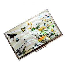 Porte-cartes métal avec décoration originale Corénne de nacre véritable