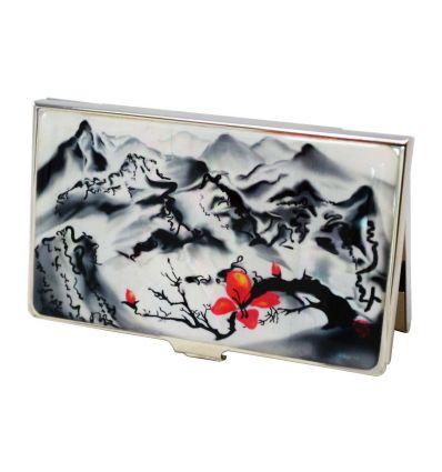 Porte Cartes De Visite Avec Fresque Dun Paysage Asiatique En Noir Et Blanc