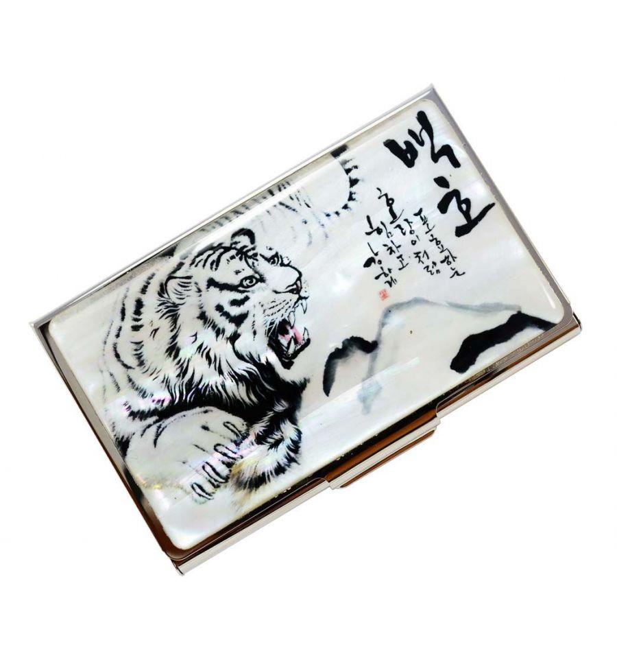 Porte Cartes De Visite Original Design Tigre Blanc