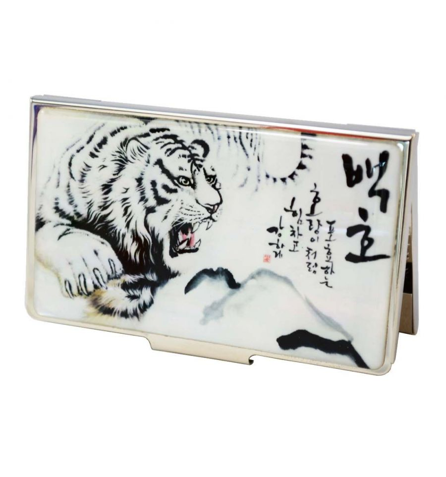 Porte Cartes De Visite Tigre Blanc Cadeaux Original