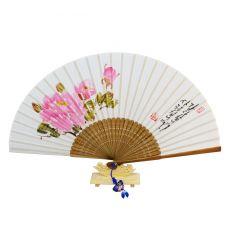 Éventail Asiatique en tissu avec un dessin de fleur de pivoine