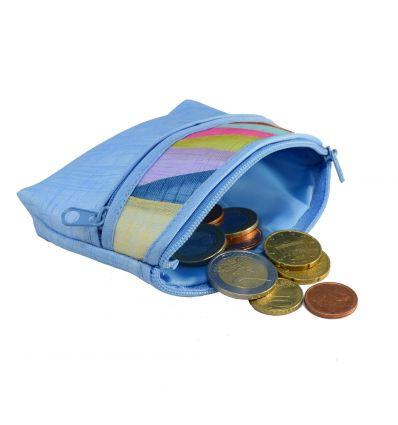 Porte-monnaie bleu ciel en tissu ramie