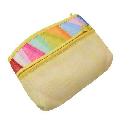 Porte-monnaie jaune en tissu Ramie