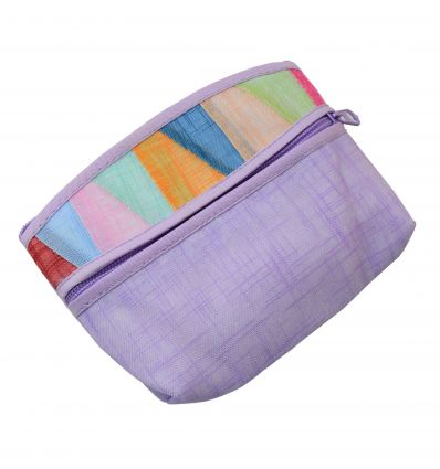 Porte-monnaie violet en tissu ramie