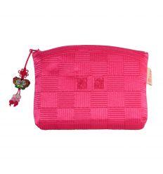 Trousse à maquillage rose de fabrication artisanale