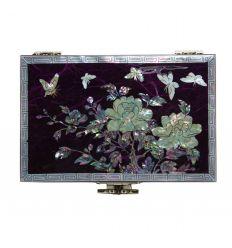 Coffret à bijoux fantaisie violet - fleurs de pivoines