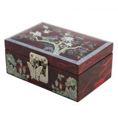 Coffret à bijoux fantaisie rouge - fleurs de magnolia