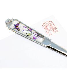 Ouvre-lettre original en inox design papillons