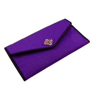 Portefeuille artisanal violet en tissu brocart