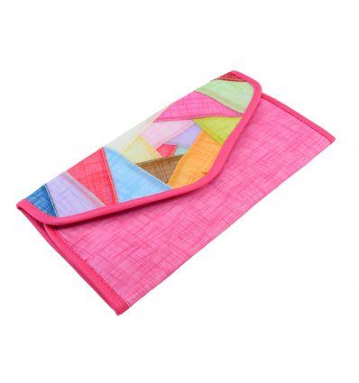 Portefeuille rose en tissu ramie et de belle décoration patchwork